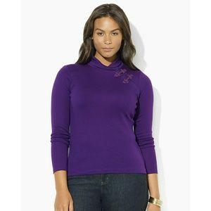 New! RALPH LAUREN Shawl-collar Cotton Top Blouse
